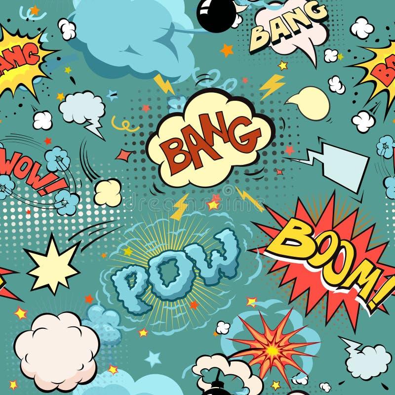 Άνευ ραφής έκρηξη κόμικς, βόμβες και σύνολο φυσήματος ελεύθερη απεικόνιση δικαιώματος