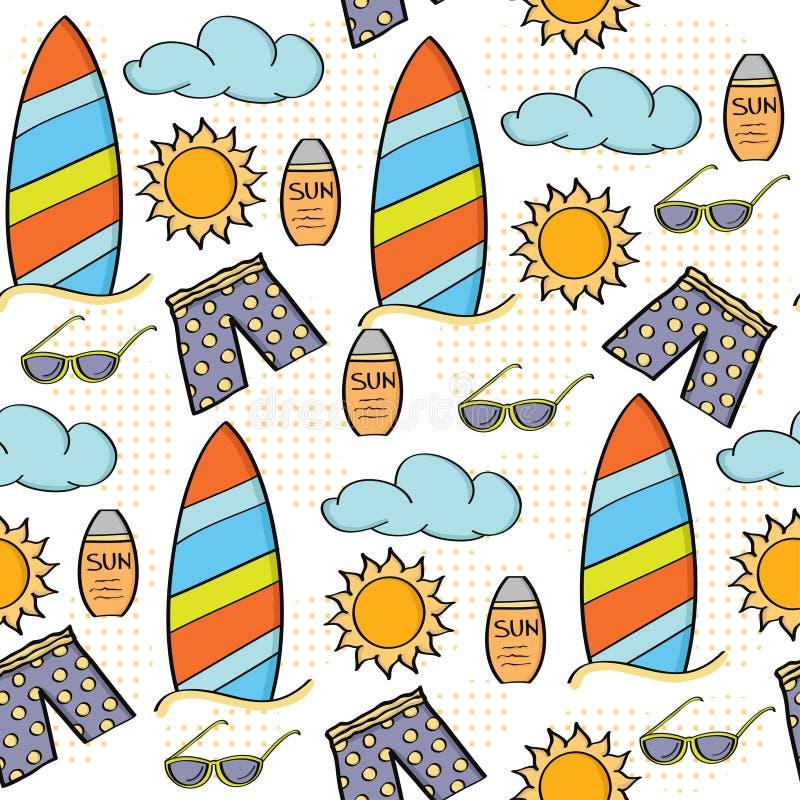 Άνευ ραφής έννοια καλοκαιρινών διακοπών σχεδίων κινούμενων σχεδίων Doodle απεικόνιση αποθεμάτων