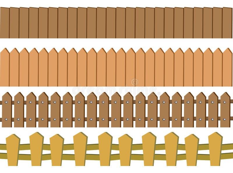 Άνευ ραφής αγροτικό ξύλινο διανυσματικό σχέδιο φρακτών που απομονώνεται στη λευκιά ΤΣΕ διανυσματική απεικόνιση