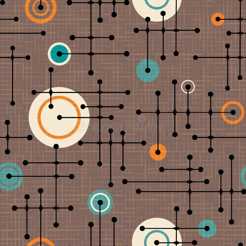 Άνευ ραφής αναδρομικό σχέδιο της δεκαετίας του '50 των γραμμών και των κύκλων διανυσματική απεικόνιση
