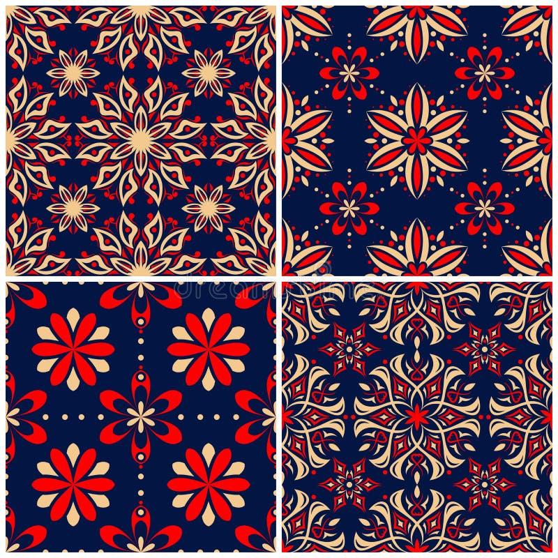 Άνευ ραφής ανασκοπήσεις Μπλε μπεζ και κόκκινα κλασικά σύνολα με τα floral σχέδια διανυσματική απεικόνιση