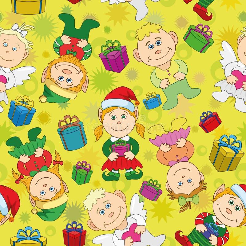 Άνευ ραφής ανασκόπηση, αγόρια και κορίτσια Χριστουγέννων απεικόνιση αποθεμάτων