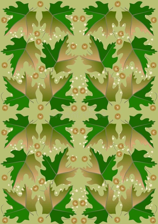 Άνευ ραφής ανασκόπηση από τα πράσινους φύλλα και τους καρπούς ελεύθερη απεικόνιση δικαιώματος