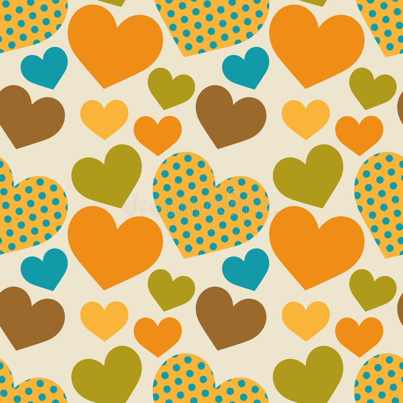 Άνευ ραφής αναδρομικό σχέδιο με τις καρδιές διανυσματική απεικόνιση
