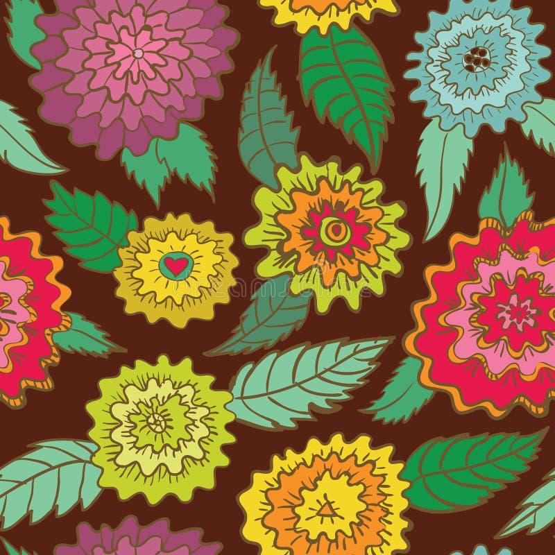 Άνευ ραφής αναδρομικό σχέδιο λουλουδιών απεικόνιση αποθεμάτων