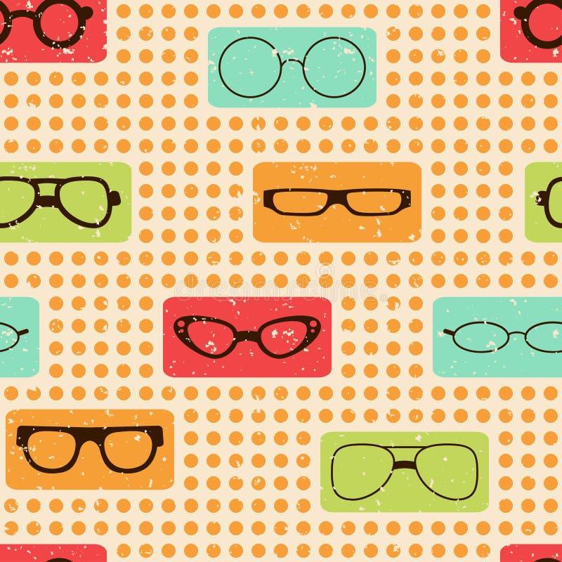 Άνευ ραφής αναδρομικό σχέδιο χρώματος με τα γυαλιά ελεύθερη απεικόνιση δικαιώματος