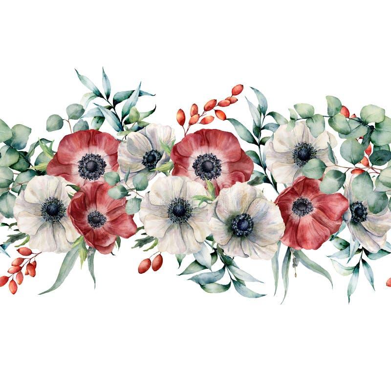 Άνευ ραφής ανθοδέσμη Watercolor με τα κόκκινα και άσπρα anemones Χρωματισμένα χέρι λουλούδια με τα φύλλα και τους κλάδους ευκαλύπ διανυσματική απεικόνιση