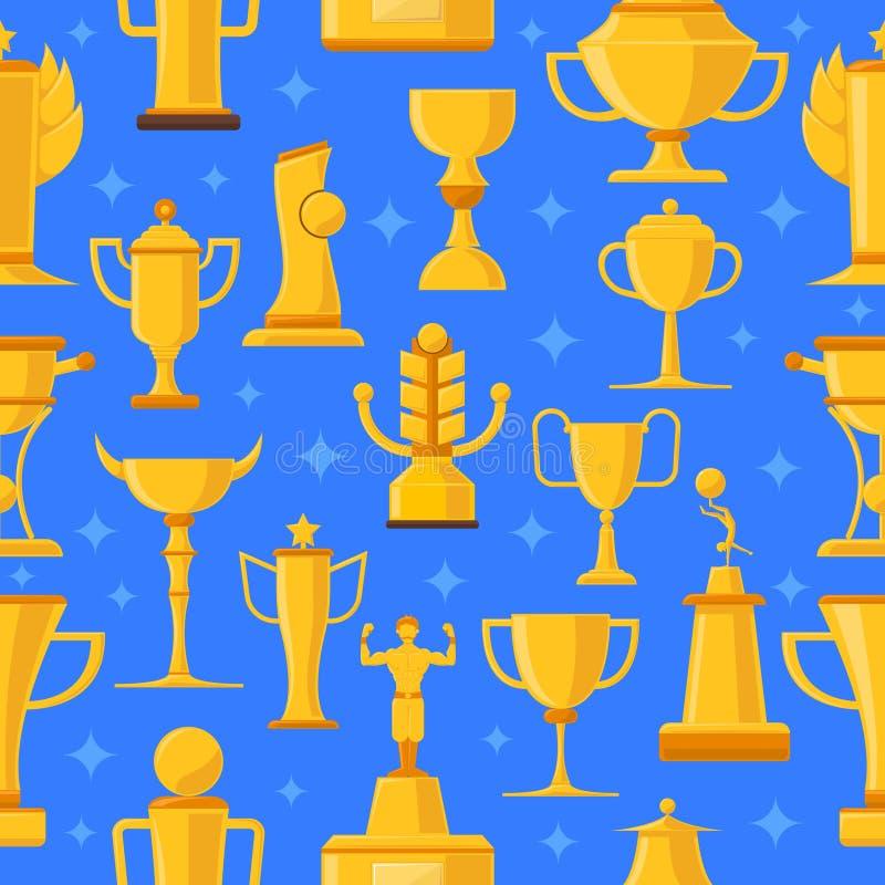 Άνευ ραφής απεικόνιση βραβείων και φλυτζανιών διανυσματική απεικόνιση