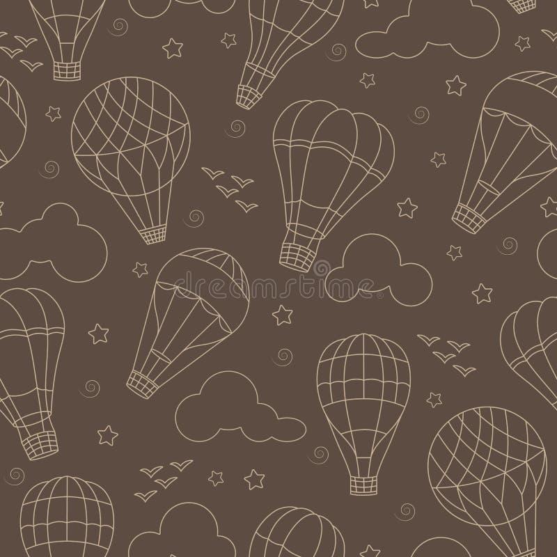 Άνευ ραφής απεικόνιση με τα μπαλόνια, τα σύννεφα, τα πουλιά και τα αστέρια ζεστού αέρα σε ένα καφετί υπόβαθρο απεικόνιση αποθεμάτων