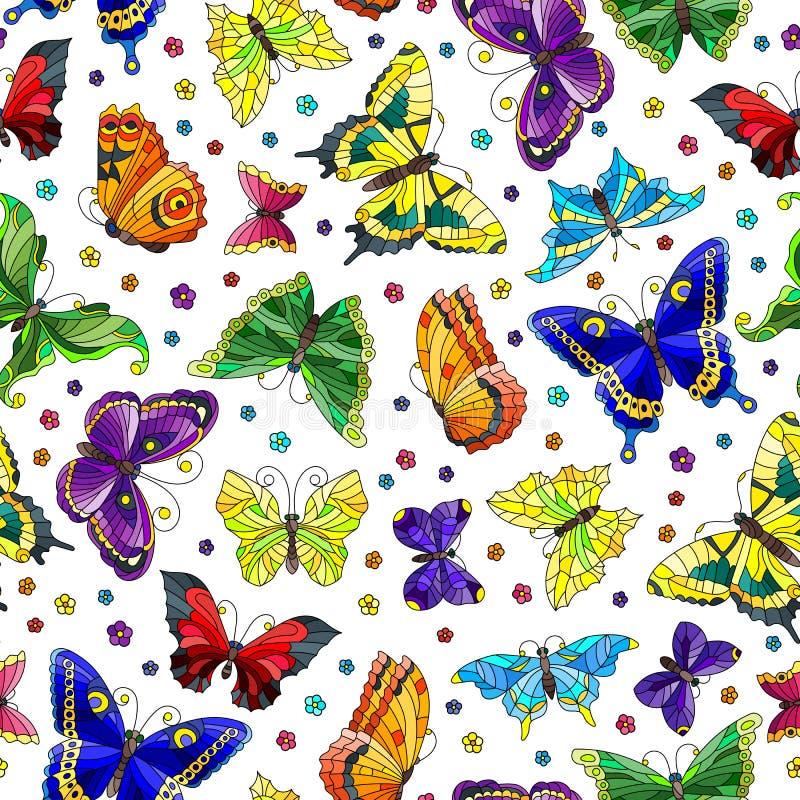 Άνευ ραφής απεικόνιση με τις φωτεινά πεταλούδες και τα λουλούδια στο άσπρο υπόβαθρο απεικόνιση αποθεμάτων