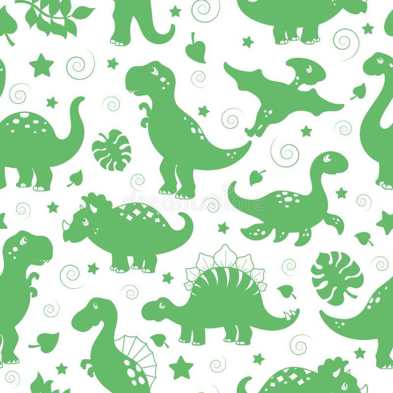 Άνευ ραφής απεικόνιση με τους δεινοσαύρους και τα φύλλα, πράσινα εικονίδια σκιαγραφιών σε ένα άσπρο υπόβαθρο ελεύθερη απεικόνιση δικαιώματος