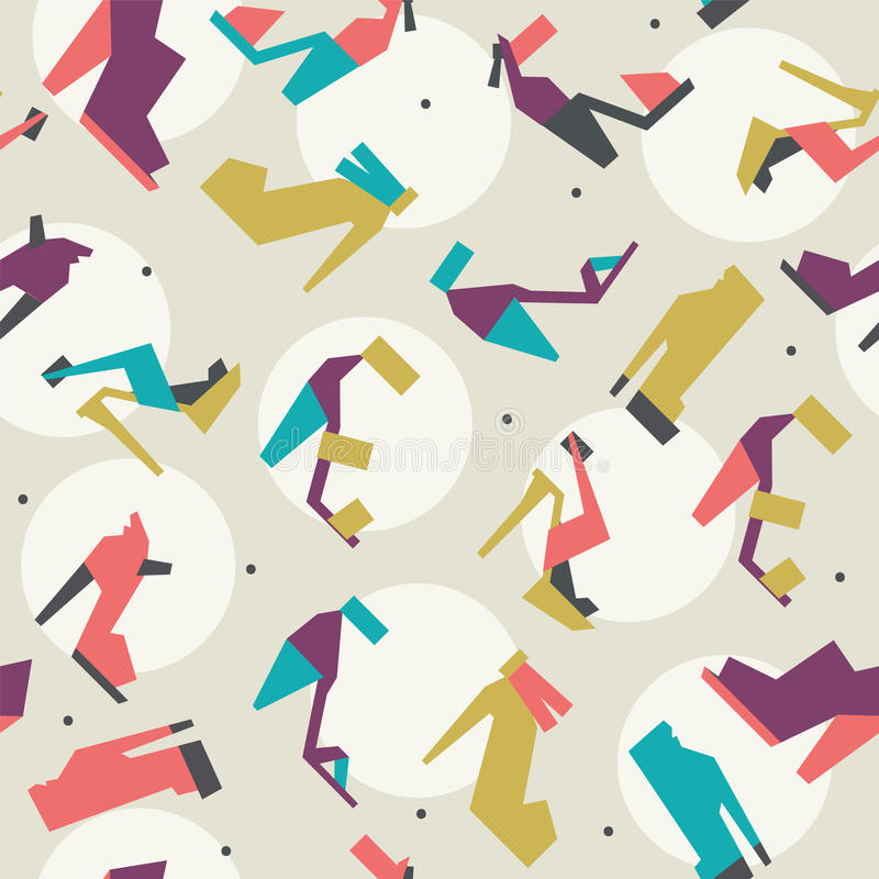 Άνευ ραφής απεικόνιση με το όμορφο σχέδιο τακουνιών και παπουτσιών με τις γεωμετρικές μορφές Φωτεινά χρώματα στο μπεζ υπόβαθρο με ελεύθερη απεικόνιση δικαιώματος