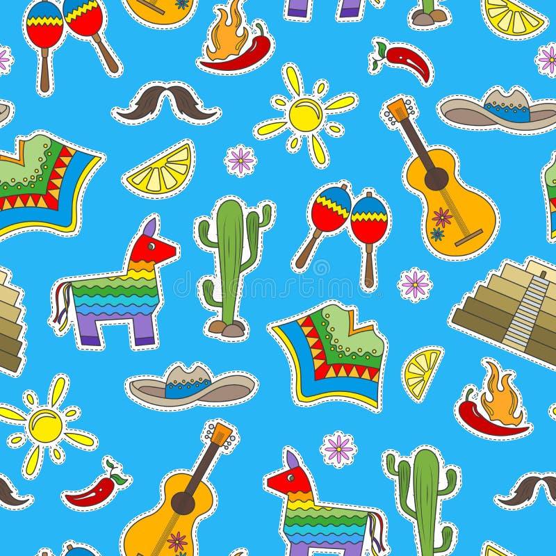 Άνευ ραφής απεικόνιση στο θέμα της αναψυχής στη χώρα του Μεξικού, ζωηρόχρωμα εικονίδια μπαλωμάτων στο μπλε υπόβαθρο απεικόνιση αποθεμάτων