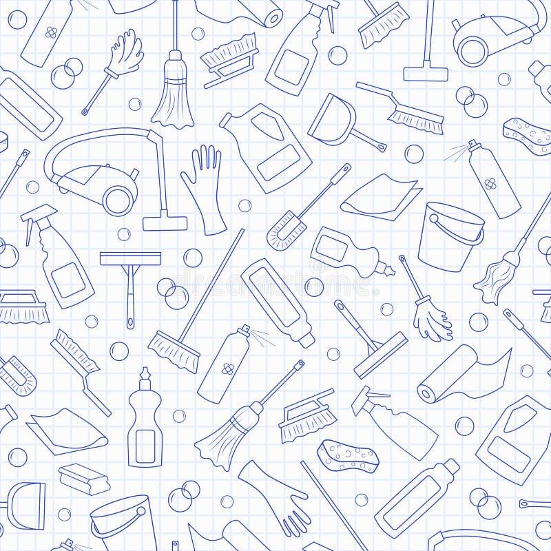 Άνευ ραφής απεικόνιση στο θέμα του εξοπλισμού καθαρισμού και οικογένειας και καθαρίζοντας προϊόντα, μπλε εικονίδια περιγράμματος  απεικόνιση αποθεμάτων