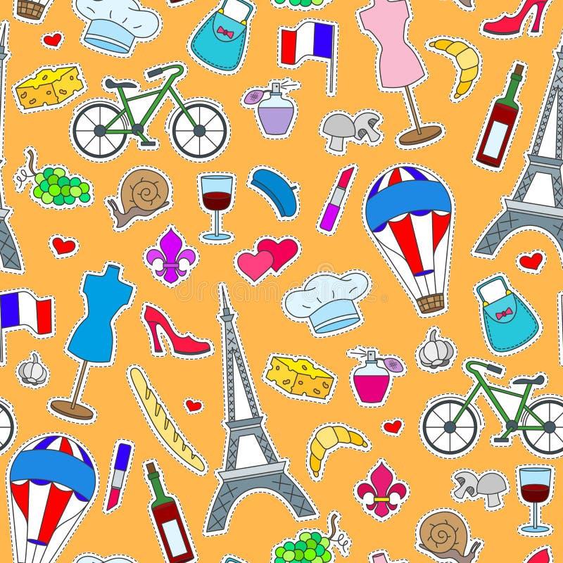 Άνευ ραφής απεικόνιση στο θέμα του ταξιδιού στη χώρα της Γαλλίας, απλά μπαλώματα εικονιδίων, τα χρωματισμένα σύμβολα σε μια πορτο διανυσματική απεικόνιση