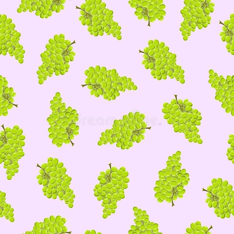 Άνευ ραφής απλό σχέδιο Δέσμη των πράσινων σταφυλιών Ανοικτό μωβ υπόβαθρο απεικόνιση αποθεμάτων