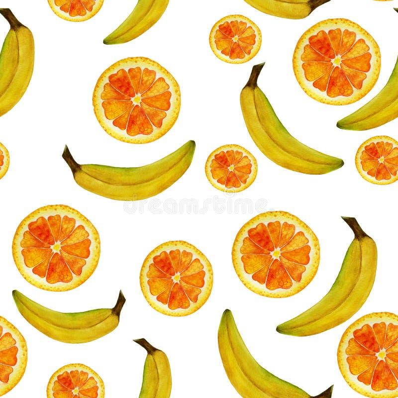 Άνευ ραφής απομονωμένα πορτοκάλι φρούτων watercolor και σχέδιο μπανανών στο άσπρο υπόβαθρο απεικόνιση αποθεμάτων