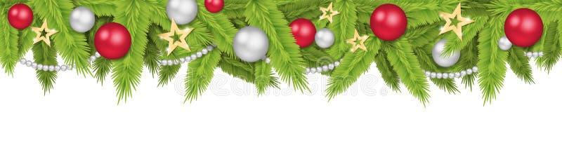 Άνευ ραφής απομονωμένο επιγραφή διάνυσμα σφαιρών χριστουγεννιάτικων δέντρων διανυσματική απεικόνιση