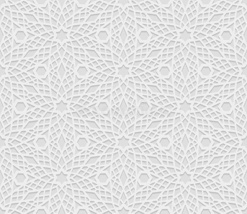 Άνευ ραφής αραβικό γεωμετρικό σχέδιο, τρισδιάστατο άσπρο σχέδιο, ινδική διακόσμηση, περσικό μοτίβο, διάνυσμα Η ατελείωτη σύσταση  διανυσματική απεικόνιση