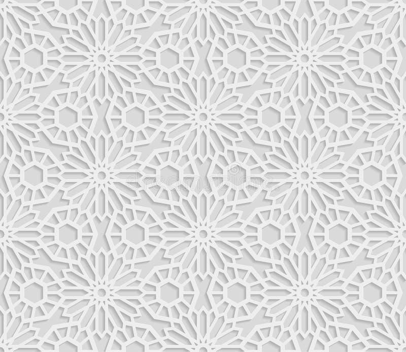 Άνευ ραφής αραβικό γεωμετρικό σχέδιο, τρισδιάστατο άσπρο σχέδιο, ινδική διακόσμηση, περσικό μοτίβο, διάνυσμα Ατελείωτη σύσταση διανυσματική απεικόνιση