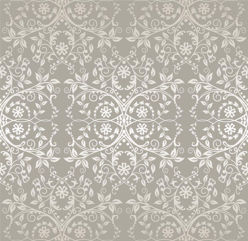 Άνευ ραφής ασημένια λεπτομερής ταπετσαρία λουλουδιών και φύλλων δαντελλών διανυσματική απεικόνιση