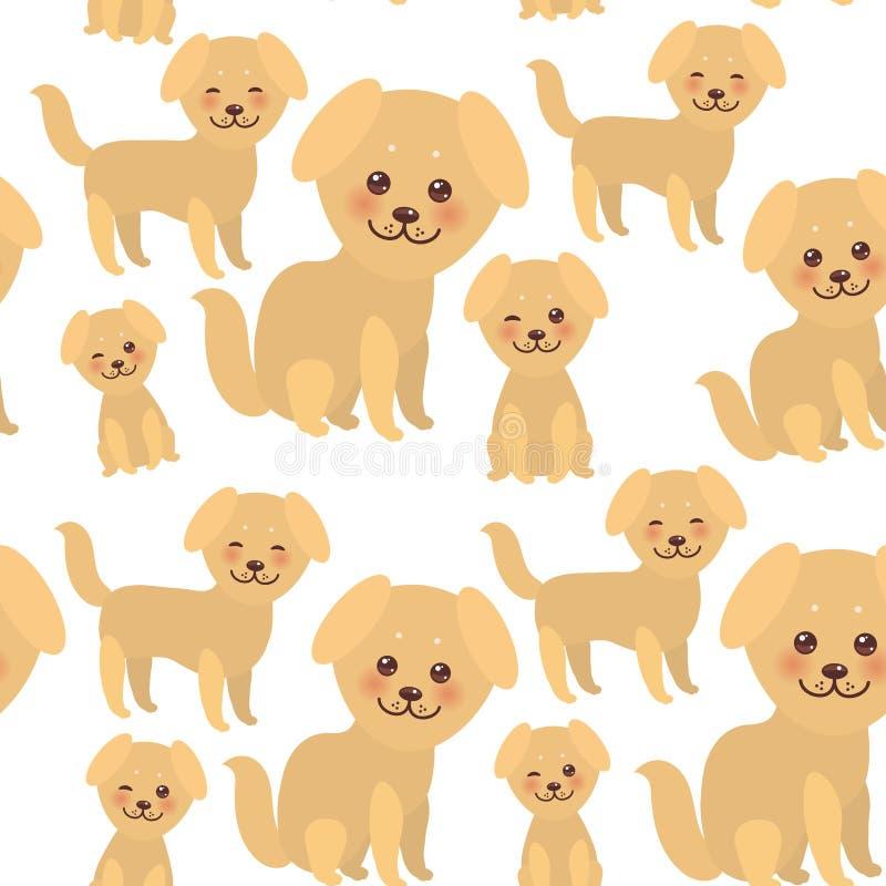 Άνευ ραφής αστείο χρυσό μπεζ σκυλί Kawaii σχεδίων, πρόσωπο με τα μεγάλα μάτια και τα ρόδινα μάγουλα, αγόρι και κορίτσι που απομον ελεύθερη απεικόνιση δικαιώματος