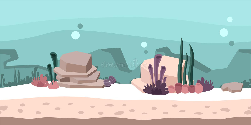 Άνευ ραφής ατελείωτο υπόβαθρο για το παιχνίδι ή τη ζωτικότητα Υποβρύχιος κόσμος με τους βράχους, το φύκι και το κοράλλι επίσης co διανυσματική απεικόνιση