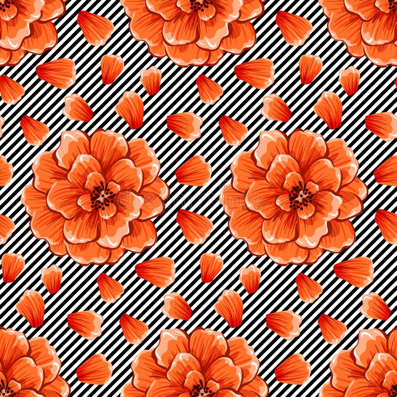 Άνευ ραφής αφηρημένα λουλούδια στο γραπτό υπόβαθρο λωρίδων κυμάτων Διανυσματικό σχέδιο EPS10 διανυσματική απεικόνιση