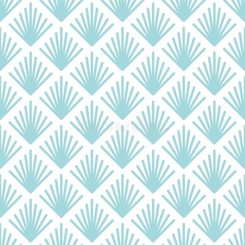 Άνευ ραφής αφηρημένοι γραφικοί ανεμιστήρες σχεδίων μπλε και άσπροι απεικόνιση αποθεμάτων