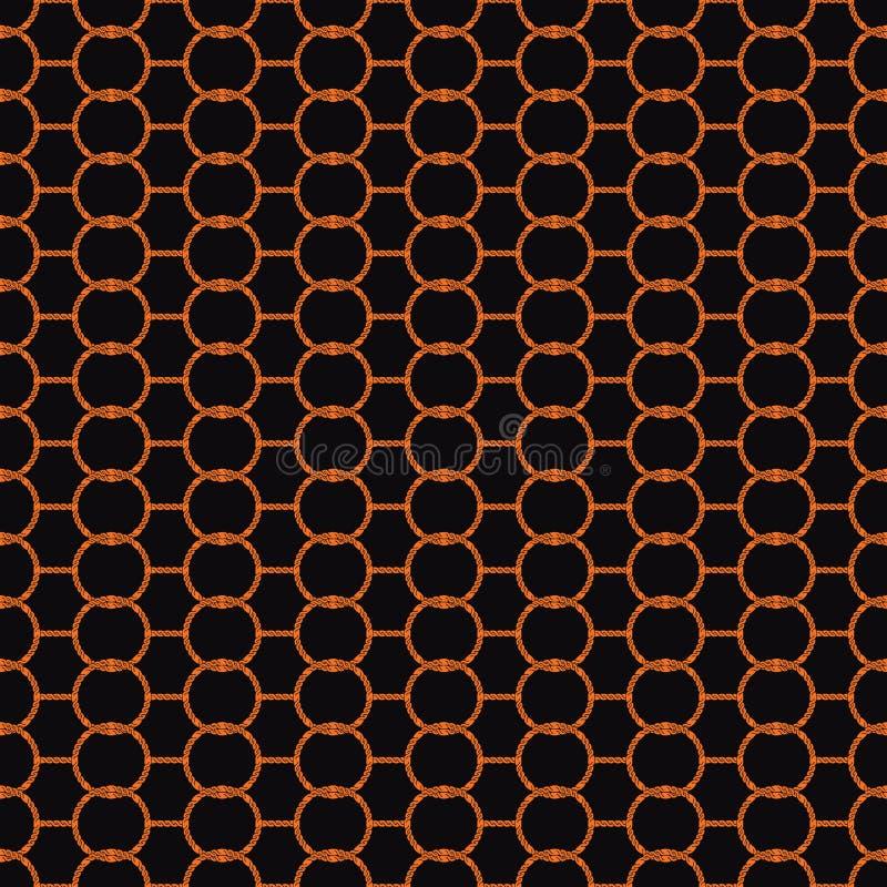 Άνευ ραφής αφηρημένο αναδρομικό γεωμετρικό σχέδιο Συνδεμένοι κύκλοι και hexagons αλυσίδων στις σκιές του πορτοκαλιού και του Μαύρ ελεύθερη απεικόνιση δικαιώματος