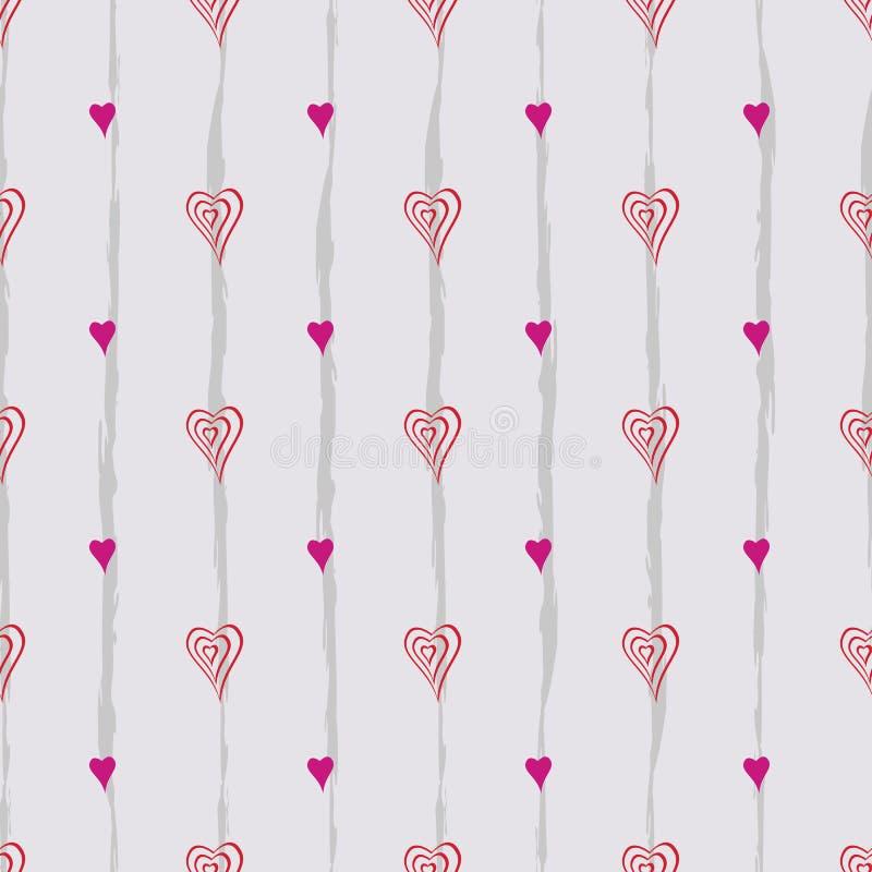 Άνευ ραφής αφηρημένο αναδρομικό σχέδιο Συνδυασμένες καμπύλες, καρδιές και γραμμές στο γεωμετρικό σχεδιάγραμμα απεικόνιση αποθεμάτων