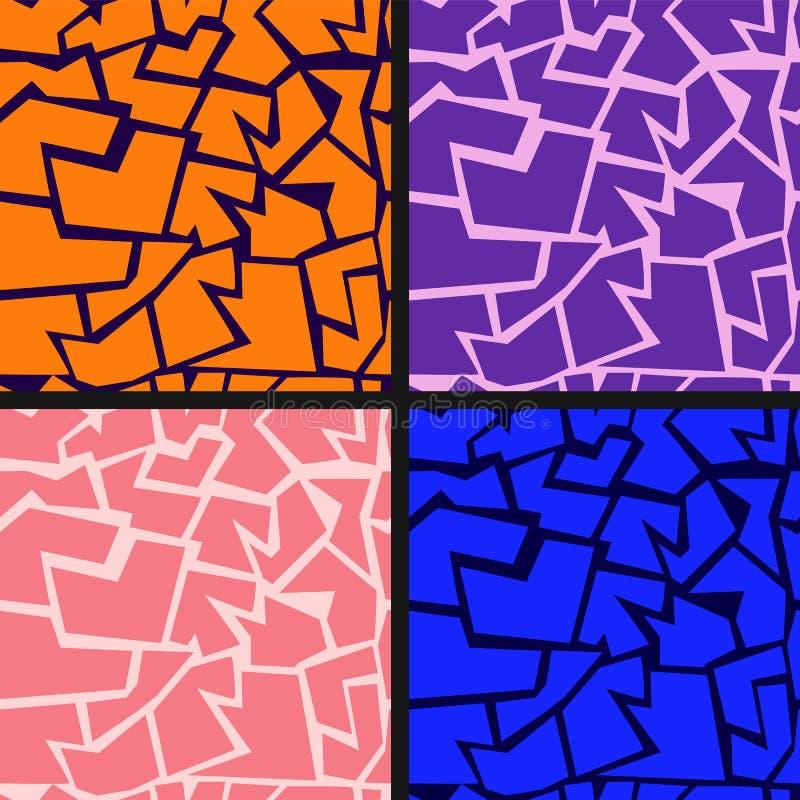 Άνευ ραφής αφηρημένο γεωμετρικό σύνολο σχεδίων ρωγμών απεικόνιση αποθεμάτων