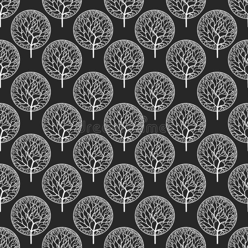 Άνευ ραφής αφηρημένο διανυσματικό σχέδιο με τα άσπρα δέντρα ελεύθερη απεικόνιση δικαιώματος