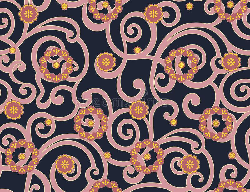 Άνευ ραφής αφηρημένο παραδοσιακό σχέδιο λουλουδιών διανυσματική απεικόνιση
