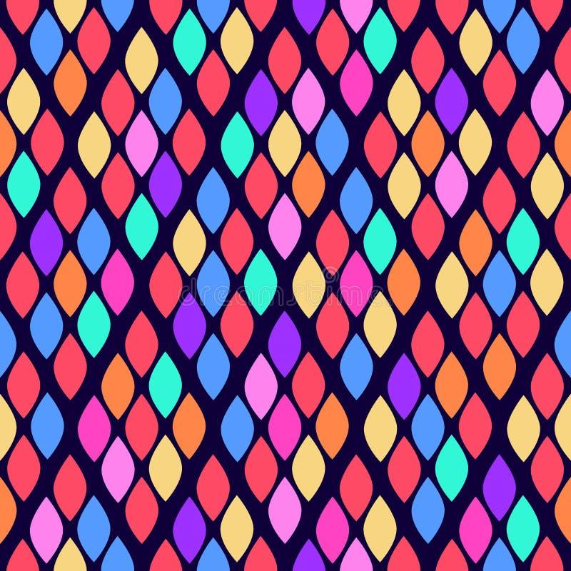 Άνευ ραφής αφηρημένο σχέδιο κυμάτων με τα ζωηρόχρωμα rhombuses Διανυσματική απεικόνιση με τα αφηρημένα φύλλα διανυσματική απεικόνιση