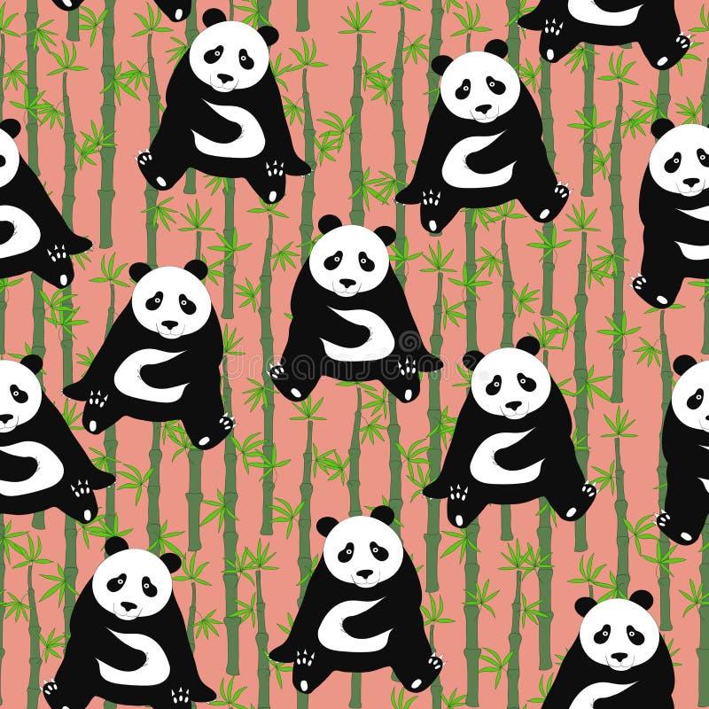 Άνευ ραφής αφηρημένο σχέδιο με τα hand-drawn χαριτωμένα pandas Backgroun διανυσματική απεικόνιση