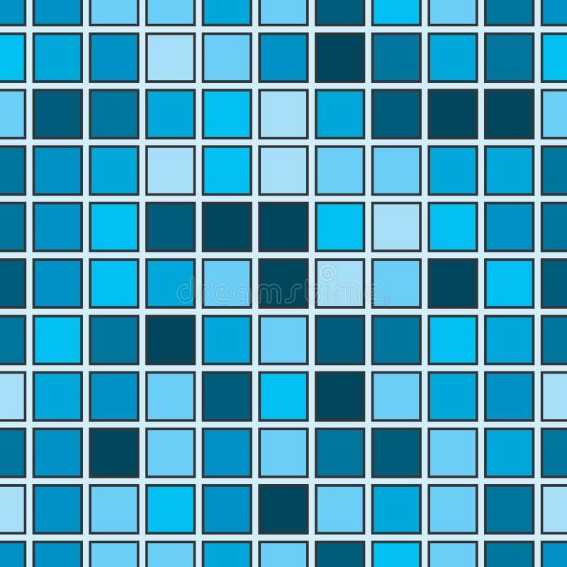 Άνευ ραφής αφηρημένο σχέδιο με την μπλε τετραγωνική μορφή διανυσματική απεικόνιση