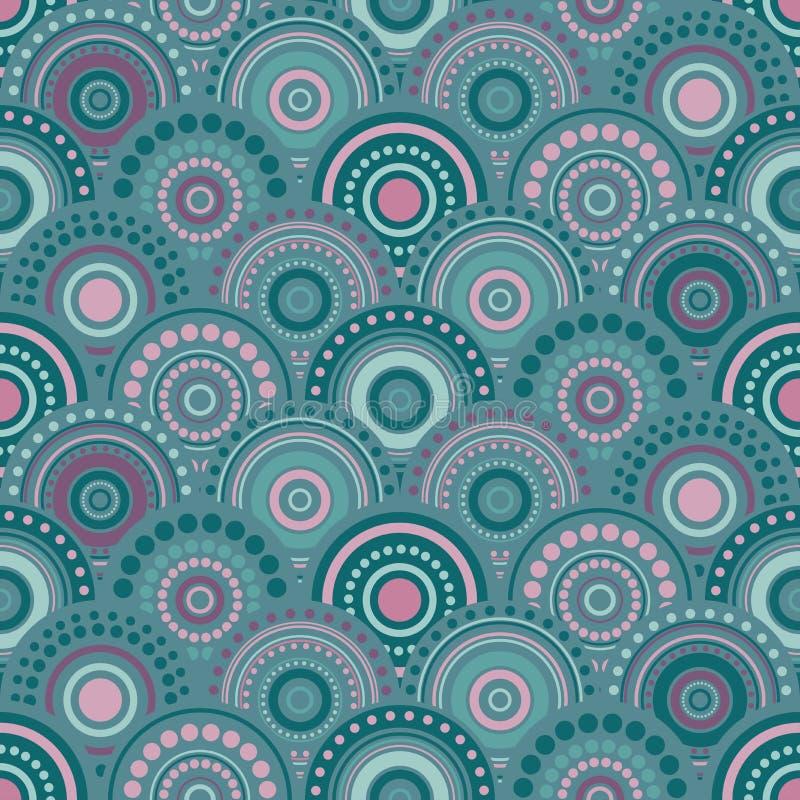 Άνευ ραφής αφηρημένο σχέδιο με τους επικαλύπτοντας κύκλους και τα σημεία των μπλε και ρόδινων χρωμάτων διανυσματική απεικόνιση