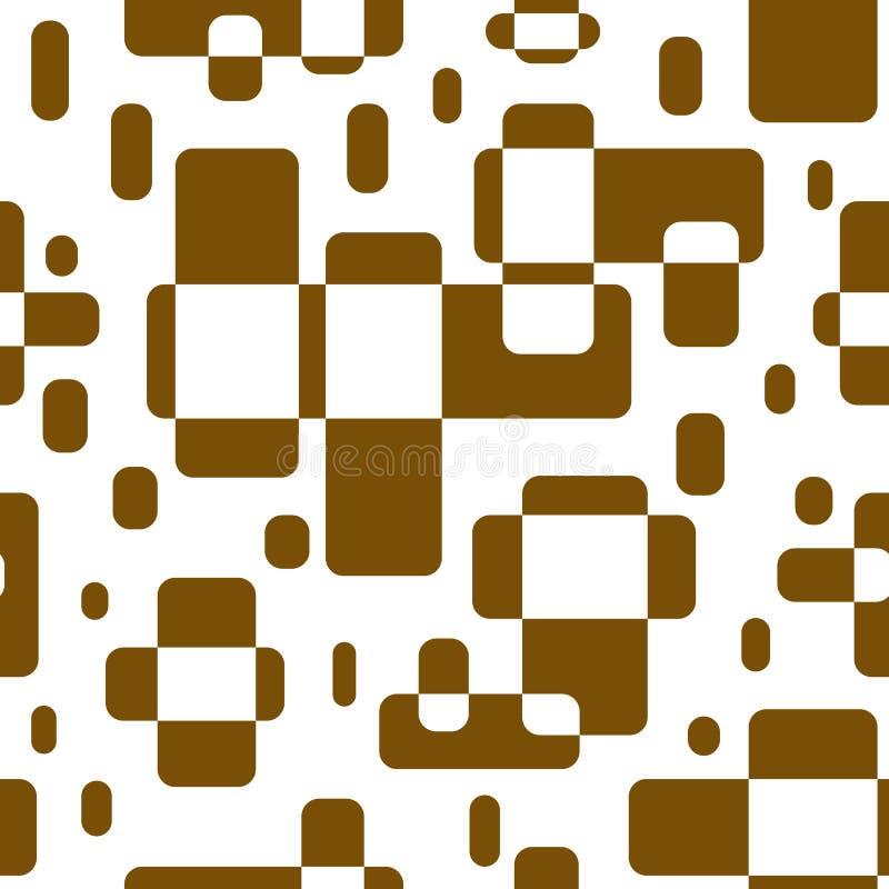 Άνευ ραφής αφηρημένο σχέδιο των γεωμετρικών μορφών Ορθογώνια που επιστρώνονται καφετιά διανυσματική απεικόνιση
