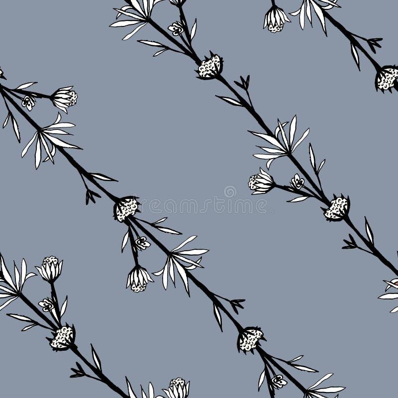 Άνευ ραφής αφηρημένο σχέδιο των διακοσμητικών λουλουδιών Χαριτωμένα κλαδάκια των άγριων λουλουδιών Μια τυπωμένη ύλη για το ύφασμα απεικόνιση αποθεμάτων