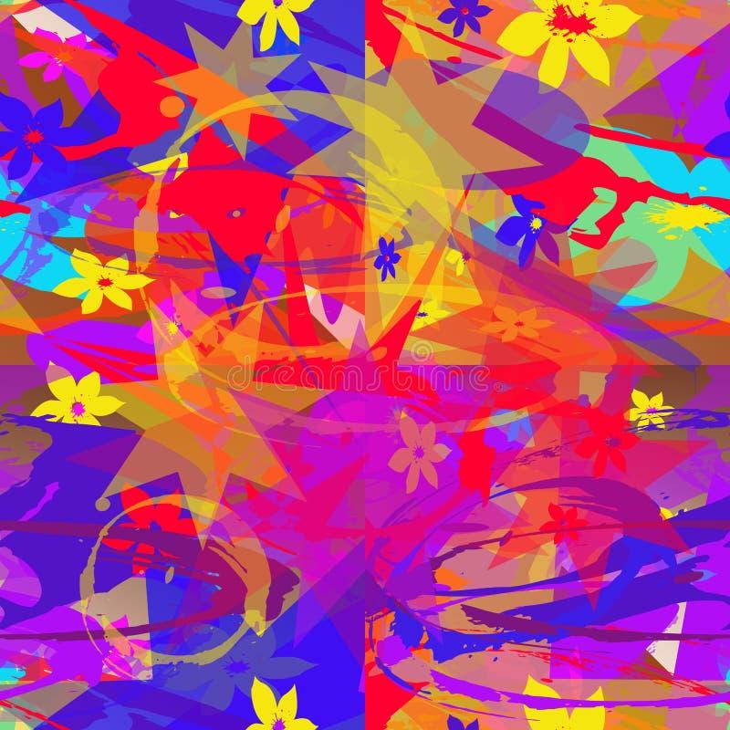 Άνευ ραφής αφηρημένο σχέδιο των πολύχρωμων στοιχείων απεικόνιση αποθεμάτων