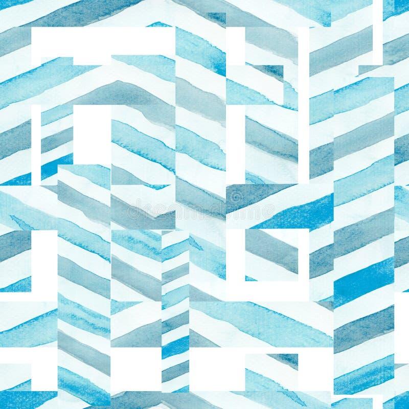 Άνευ ραφής αφηρημένο σχέδιο watercolor στο μπλε χρώμα ουρανού σε ένα άσπρο υπόβαθρο Αγαθό για την κάρτα, το έμβλημα, το κλωστοϋφα διανυσματική απεικόνιση