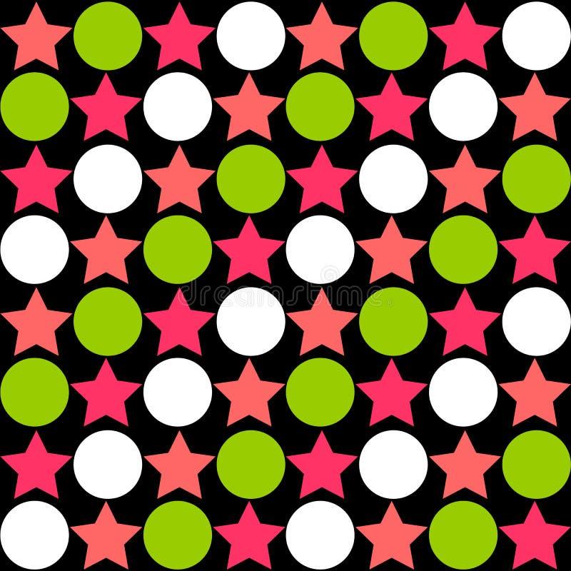 Άνευ ραφής αφηρημένο σχέδιο - αστέρια που εναλλάσσουν τους κύκλους σε φωτεινό διανυσματική απεικόνιση