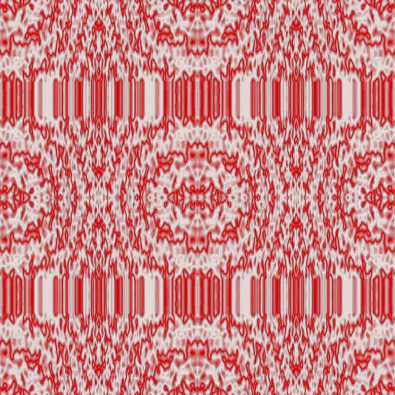 Άνευ ραφής αφηρημένο σχέδιο στους άσπρους και κόκκινους τόνους στο ύφος υφασμάτων διανυσματική απεικόνιση