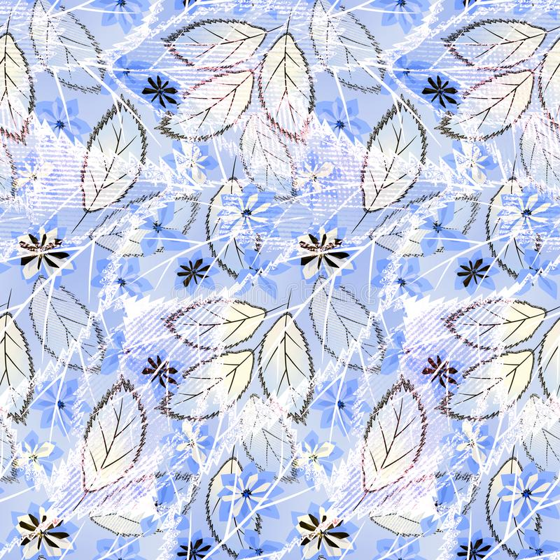 Άνευ ραφής αφηρημένο floral σχέδιο στο ανοικτό μπλε υπόβαθρο ελεύθερη απεικόνιση δικαιώματος