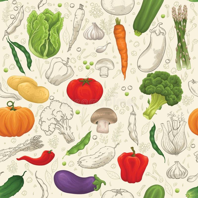 άνευ ραφής λαχανικό προτύπ&omeg διανυσματική απεικόνιση