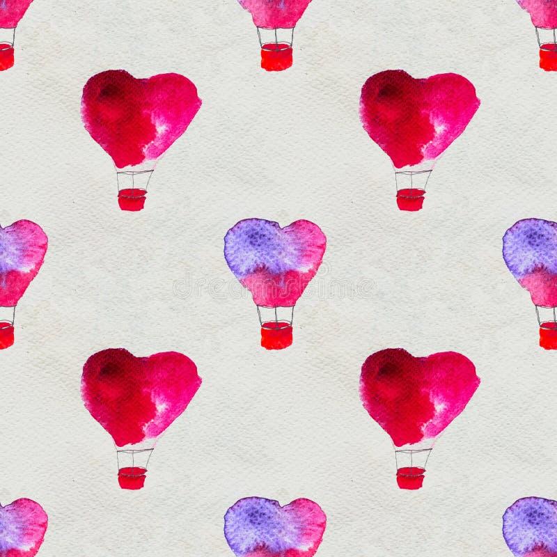 Άνευ ραφής βασισμένος σε μια απεικόνιση watercolor Μπαλόνι υπό μορφή καρδιάς που πετά στον ουρανό ελεύθερη απεικόνιση δικαιώματος