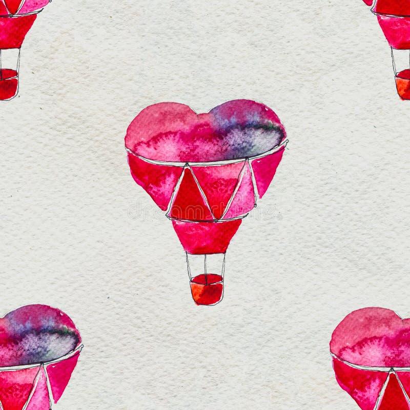 Άνευ ραφής βασισμένος σε μια απεικόνιση watercolor Μπαλόνι υπό μορφή καρδιάς που πετά στον ουρανό απεικόνιση αποθεμάτων