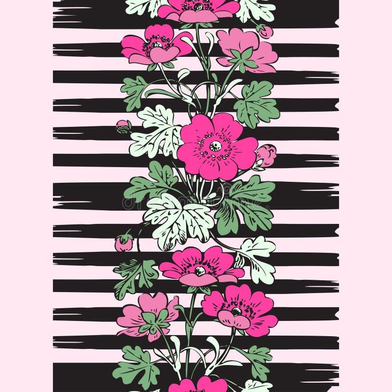 Άνευ ραφής βοτανικός θάμνος πλαισίων συνόρων με το τροπικό vinta λουλουδιών απεικόνιση αποθεμάτων