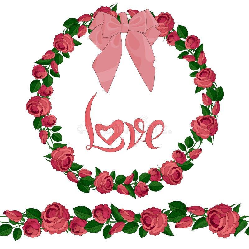 Άνευ ραφής βούρτσα και στεφάνι των ρόδινων τριαντάφυλλων με την εγγραφή απεικόνιση αποθεμάτων